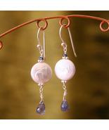 Pearl & Iolite Earrings - $32.00