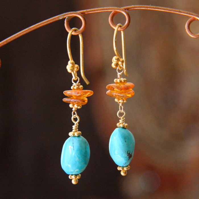 Turquoise and Amber Linked Earrings