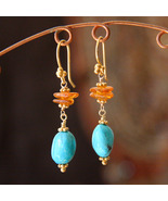 Turquoise and Amber Linked Earrings - $25.00