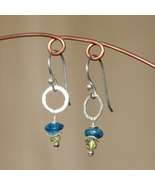 Apatite, Peridot & Silver Circle Earrings - $25.00