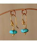 Turquoise and Gold Earrings - $18.00
