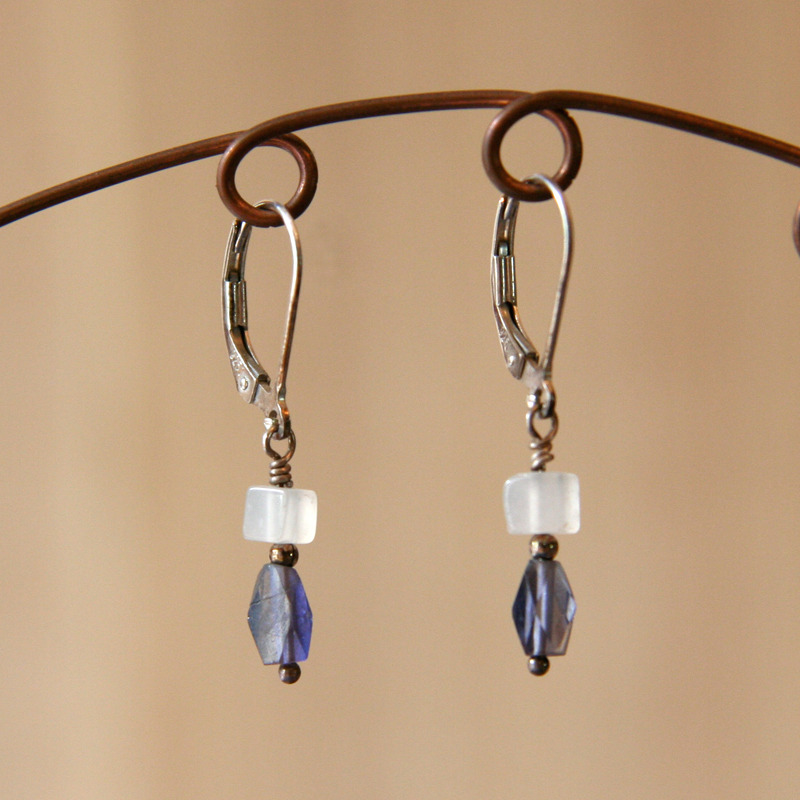 Iolite and Quartz Earrings