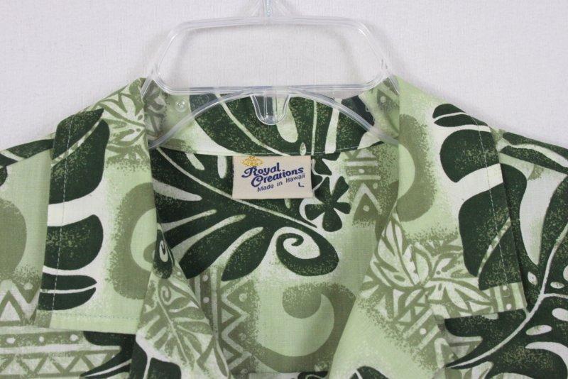 Mens Hawaiian Shirt L size Royal Creations Hawaii Green Floral Aloha Vacation