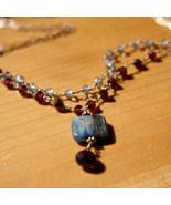 Garnet and Kyanite Double Strand Necklace - $85.00
