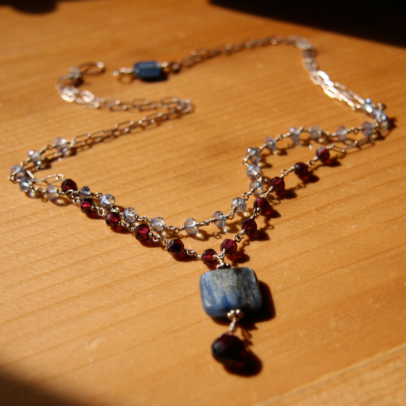 Garnet and Kyanite Double Strand Necklace