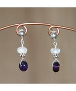 Amethyst & Rainbow Moonstone Earrings - $20.00