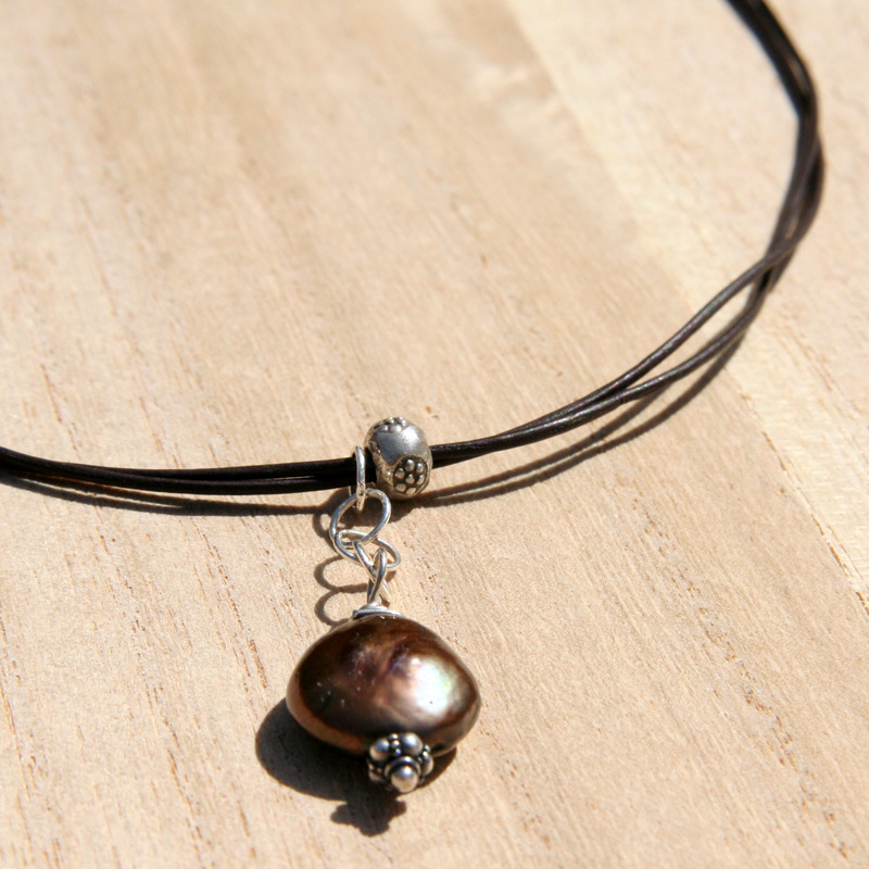 Pearl Drop and Leather Necklace