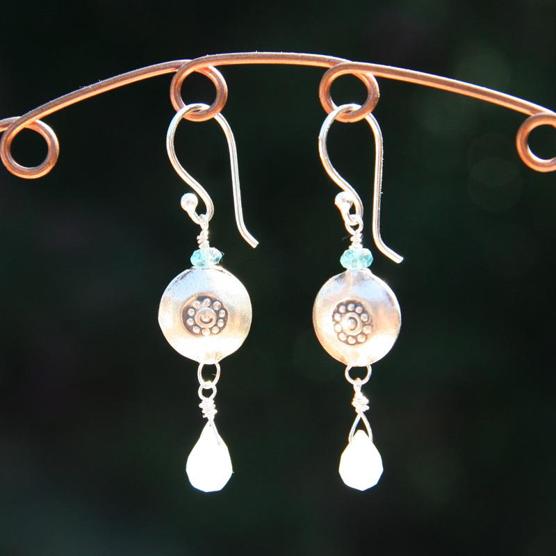 Quartz Drop and Silver Earrings