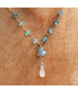 Rainbow Moonstone, Labradorite and Apatite Necklace - $45.00