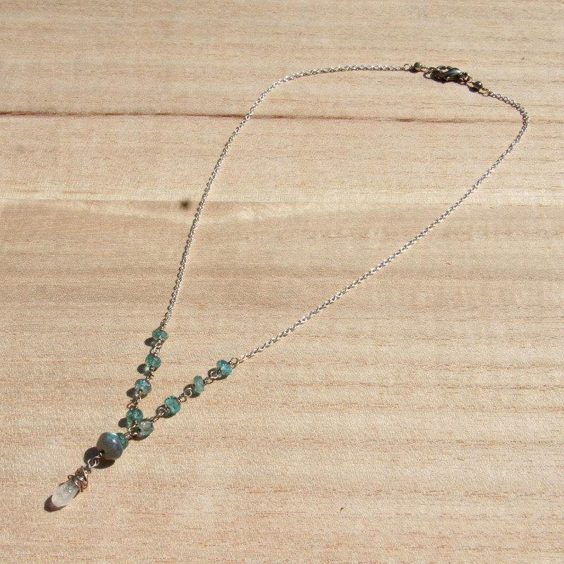 Rainbow Moonstone, Labradorite and Apatite Necklace