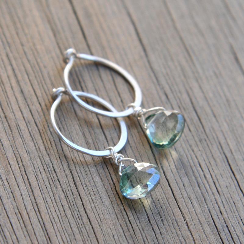 Mystic Quartz and Silver Hoop Earrings