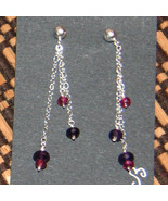Amethyst and Garnets on a Chain Earrings - $32.00