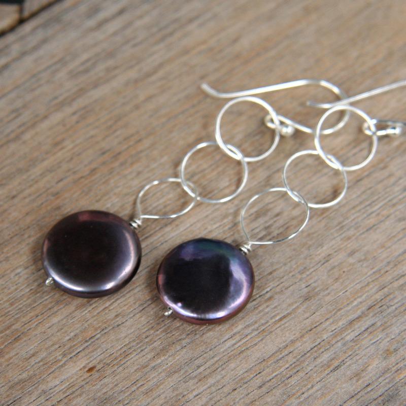 Black Pearl and Circles Earrings
