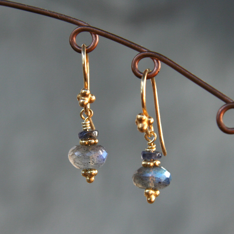 Labradorite and Iolite Earrings