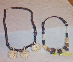 2 Trendy fashion vintage chunky wood bead necklaces used worn nice - $15.00
