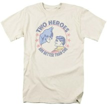 Bat Man Robin 2 Heroes T-shirt retro 80s comic book cartoon DC tan tee DCO646 image 2