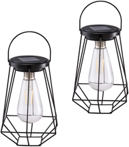 Outdoor Solar Lanterns Lamps 2 Pack Tabletop Filament LED Edison Bulbs H... - $36.64