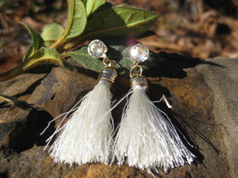 Haunted Voodoo Belle white Wanga Earrings Karma, aura cleansing positive energy - $15.00
