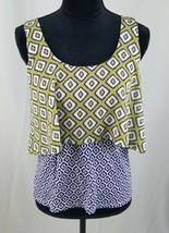 Meadow Rue Anthropologie women S green purple fret print sleeveless blouse - $18.81
