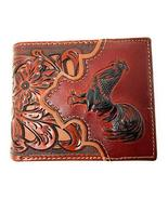 Western Men's Leather Rooster Floral Tooled Laser Cut Lone Star Short Wa... - $25.73