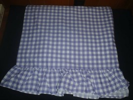 SET OF 2 VINTAGE JC PENNEY PANELS  PURPLE WHITE GINGHAM CHECK RUFFLE - $28.04