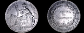 1922-H French Indo-China 1 Piastre World Silver Coin - Vietnam - $249.99