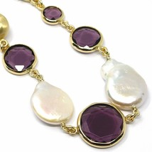 "925 STERLING SILVER YELLOW BRACELET 18cm, 7.1"" NUGGET, PURPLE GLASS PASTE PEARL image 2"