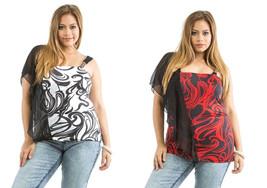 Dila Women Halter Top Swirl Print Chiffon Overlay Shoulder Straps Size 1... - $15.97