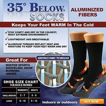 NEW 35 Below Socks 12 pairs Black Size LARGE As Seen on TV Aluminized Fi... - $58.41