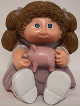 Vtg Cabbage Patch Kid Piggy Bank Plastic Doll Star Power Brown Hair with Plug - $6.41