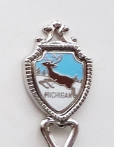 Collector Souvenir Spoon USA Michigan Deer Stag Buck Leaping Map Cloisonne - $3.99
