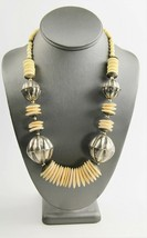 "23"" ESTATE VINTAGE Jewelry BOHO TRIBAL BOVINE BONE & METAL STATEMENT NEC... - $15.00"