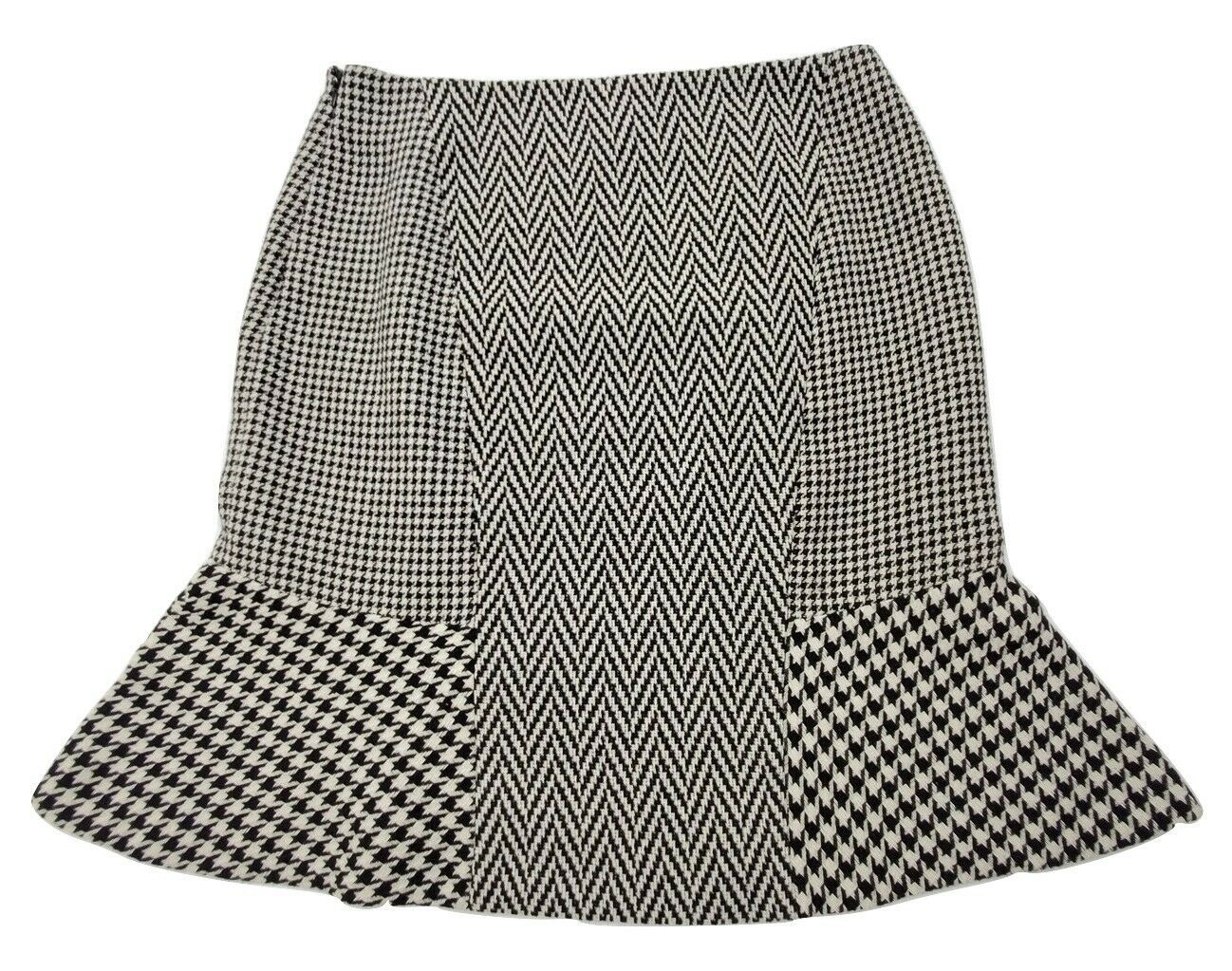 Primary image for Ann Taylor Women's Skirt Size 6 Black White Lined Herringbone Pattern