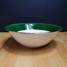 Lifetime China Jaderose Serving Bowl Green Rim with Beige Flower Gold Trim - $13.81