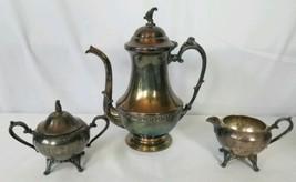 3 Piece Sheets Rockford 1875 WM Rogers Silverplate Coffee Pot Sugar Bowl... - $39.59