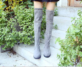 PB173 elegant over knee pointy boot, lower heels, US Size 5-8.5, gray - $48.80