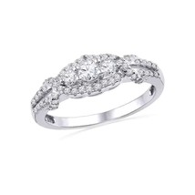 10k White Gold Round Diamond 3-stone Bridal Wedding Engagement Ring 1/2 Ctw - £553.54 GBP