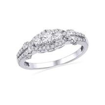 10k White Gold Round Diamond 3-stone Bridal Wedding Engagement Ring 1/2 Ctw - £522.35 GBP