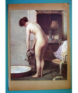 NUDE Young Woman Before Morning Bath - COLOR Typogravure Print - $22.95