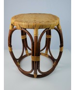 Vintage Thonet style bentwood wicker rattan foot stool ottoman side table  - $102.84