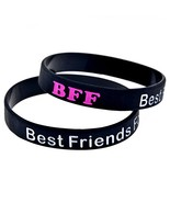 2 Pack Silicone Best Friends Forever BFF Bracelet Band Wristband Bangle ... - $37.19