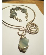 Blush Blue Quartz Swirl Necklace and Bracelet Set - $70.00