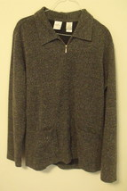 Womens Emma James Tweed Black and White Full Zip Long Sleeve Top Size Large - $14.95