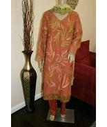 Pakistani Rust Brown Straight Shirt Chiffon Suit with Fancy Threadwork ,XL - $158.40