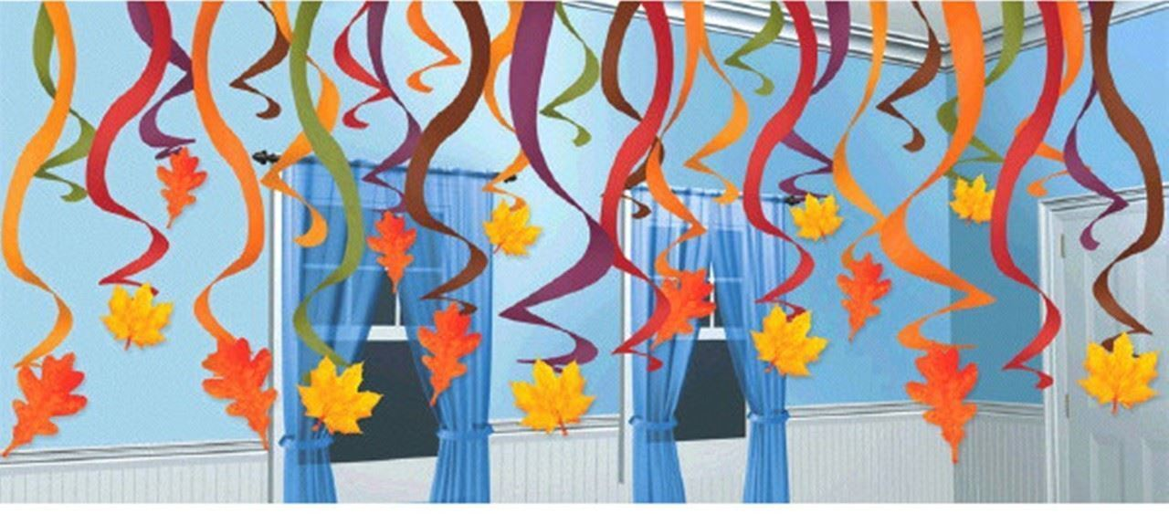 Fall Leaves 30 Pc Swirl Hanging Decorations Mega Value Pack