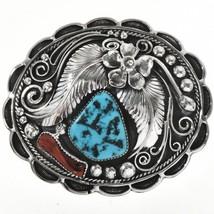 Vintage 1970s Navajo Turquoise Coral Belt Buckle LRG Old Pawn Sterling S... - $709.00