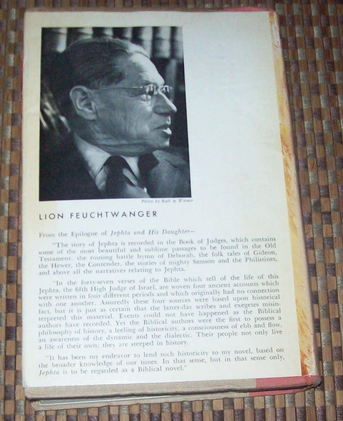 Jephta and His Daughter by Lion Feuchtwanger 1958 HBDJ Biblical Hero