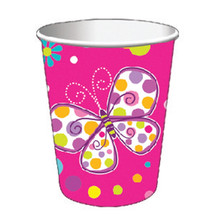 9 oz Hot/Cold Paper Cups Butterfly Sparkle, Case of 96 - $52.59