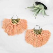 Statement Coral Fringe Drop Earrings - Goldtone - $16.83