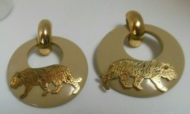 Vintage Rare Gold-tone Plastic Door-Knocker W/Tiger Pierced Earrings - $84.15